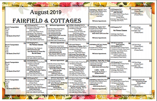 August Calendar 2019 Fairfield & Cottages