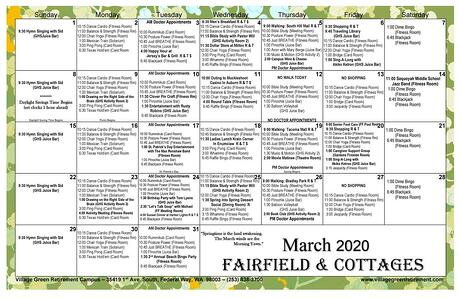 March 2020 Calendar Fairfield & Cottages