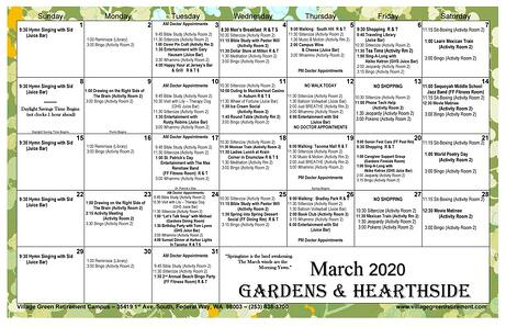 March 2020 Calendar Gardens & Hearthside