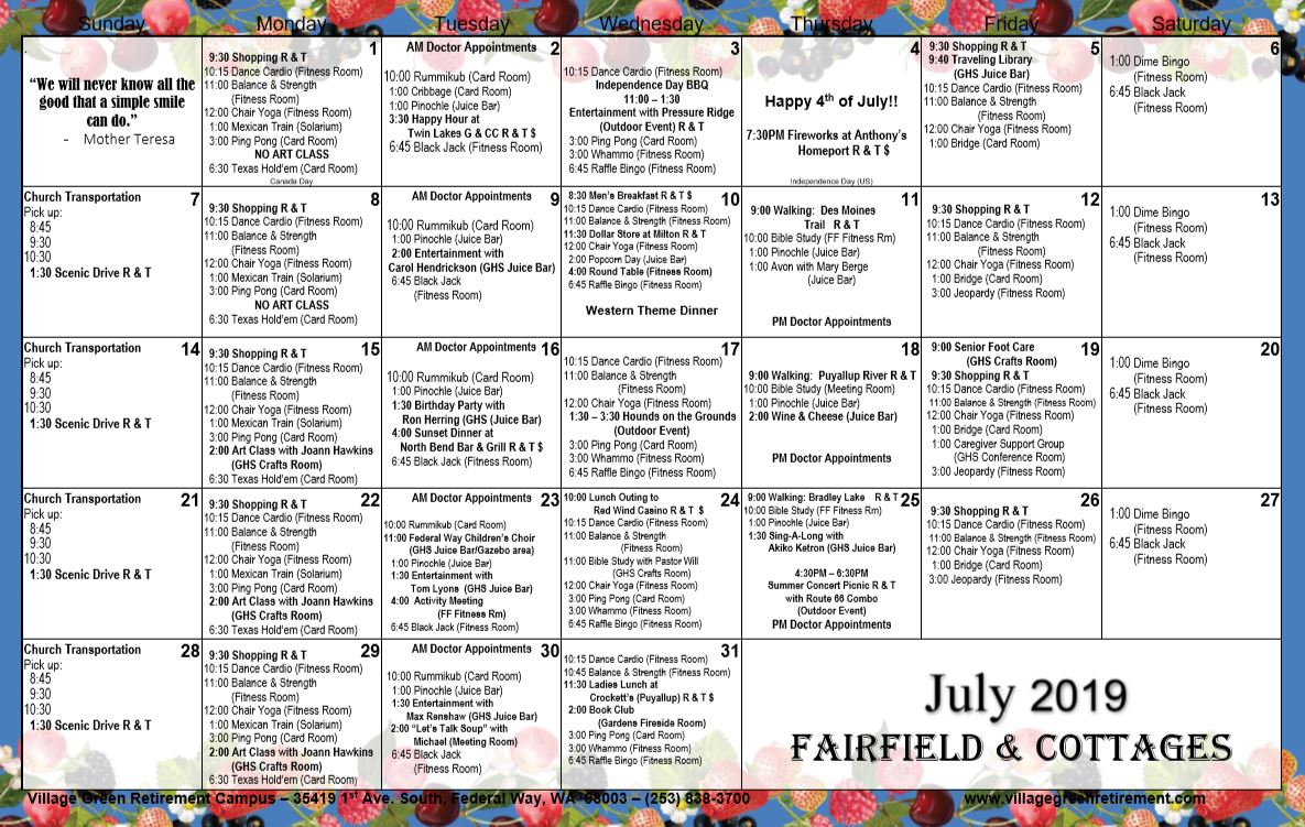 July Fairfield and Cottages 2019 Calendar