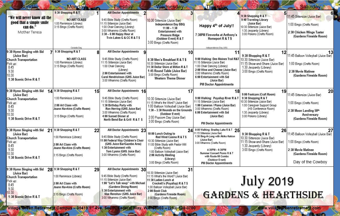 July Gardens and Hearthside 2019 Calendar