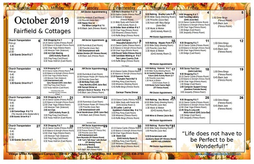 October 2019 Fairfield Events Calendar