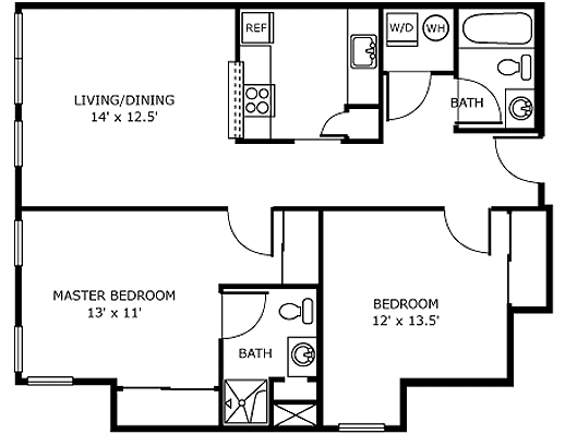 Independent Living Apartment Floor Plan Two Bedroom