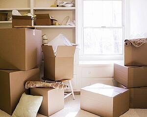 Downsizing Tips for Seniors in Federal Way — Rows of boxes sorted using Konmari method in preparation for moving to a senior living community