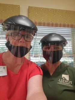 Staff wearing COVID-19 Face Shields and Masks at Village Green Retirement Community in Washington