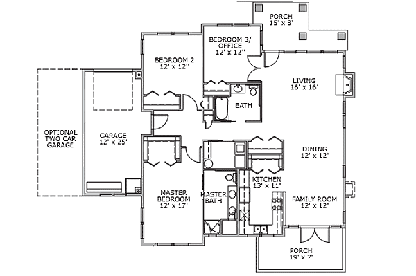 -- The Birch - 3 Bedroom Cottages Independent Living Floor Plan